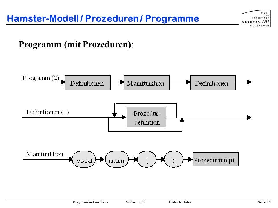 Programmierkurs Java Vorlesung 3 Dietrich Boles Seite 16 Hamster-Modell / Prozeduren / Programme Programm (mit Prozeduren):