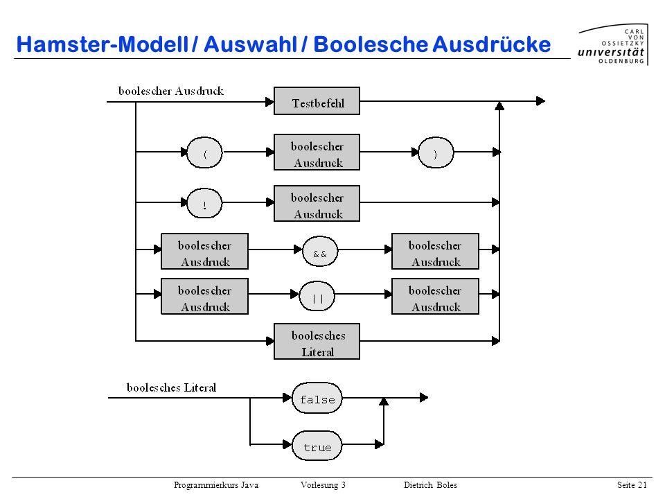 Programmierkurs Java Vorlesung 3 Dietrich Boles Seite 21 Hamster-Modell / Auswahl / Boolesche Ausdrücke