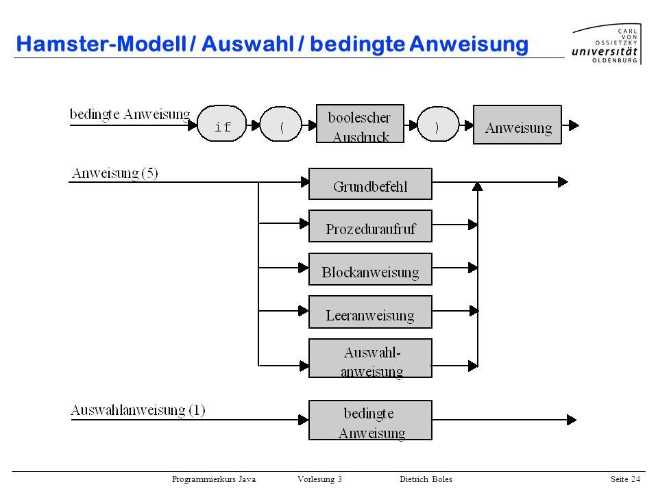 Programmierkurs Java Vorlesung 3 Dietrich Boles Seite 24 Hamster-Modell / Auswahl / bedingte Anweisung