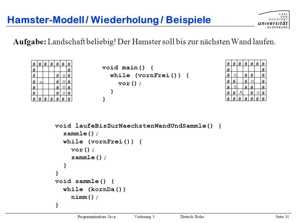 Programmierkurs Java Vorlesung 3 Dietrich Boles Seite 30 Hamster-Modell / Wiederholung / Beispiele Aufgabe: Landschaft beliebig! Der Hamster soll bis