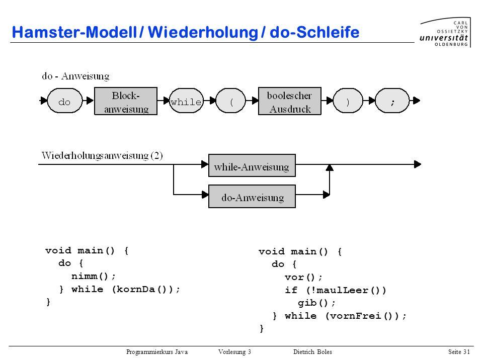 Programmierkurs Java Vorlesung 3 Dietrich Boles Seite 31 Hamster-Modell / Wiederholung / do-Schleife void main() { do { nimm(); } while (kornDa()); }