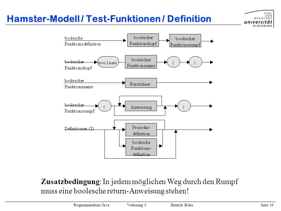 Programmierkurs Java Vorlesung 3 Dietrich Boles Seite 36 Hamster-Modell / Test-Funktionen / Definition Zusatzbedingung: In jedem möglichen Weg durch d