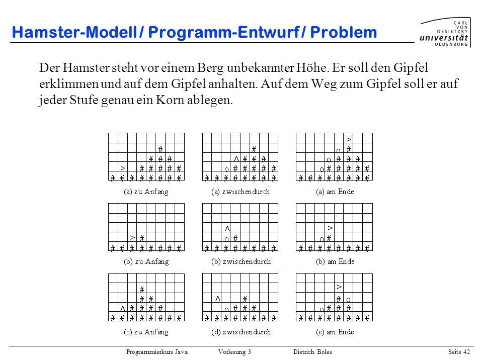 Programmierkurs Java Vorlesung 3 Dietrich Boles Seite 42 Hamster-Modell / Programm-Entwurf / Problem Der Hamster steht vor einem Berg unbekannter Höhe