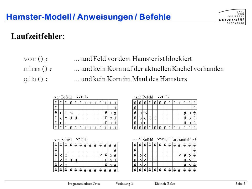 Programmierkurs Java Vorlesung 3 Dietrich Boles Seite 8 Hamster-Modell / Anweisungen / Befehle Laufzeitfehler: vor();... und Feld vor dem Hamster ist