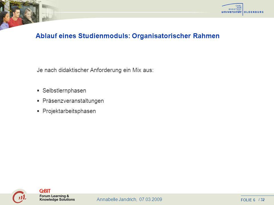 Annabelle Jandrich, 07.03.2009 FOLIE / 32 16 Das inhaltliche Profil Pflichtmodule Grundlegende Managementkompetenzen im Bildungs- und Wissenschaftsmanagement (z.B.