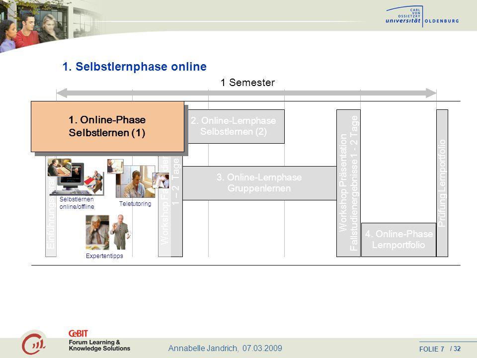 Annabelle Jandrich, 07.03.2009 FOLIE / 32 6 Ablauf eines Studienmoduls: Organisatorischer Rahmen Je nach didaktischer Anforderung ein Mix aus: Selbstlernphasen Präsenzveranstaltungen Projektarbeitsphasen