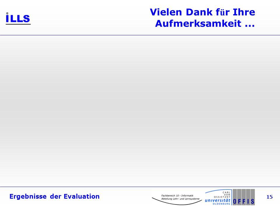 Ergebnisse der Evaluation 15 Vielen Dank f ü r Ihre Aufmerksamkeit...