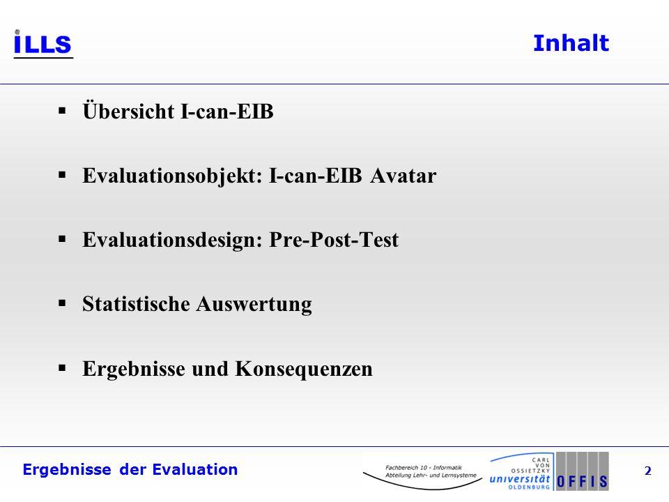 Ergebnisse der Evaluation 2 Inhalt Übersicht I-can-EIB Evaluationsobjekt: I-can-EIB Avatar Evaluationsdesign: Pre-Post-Test Statistische Auswertung Er