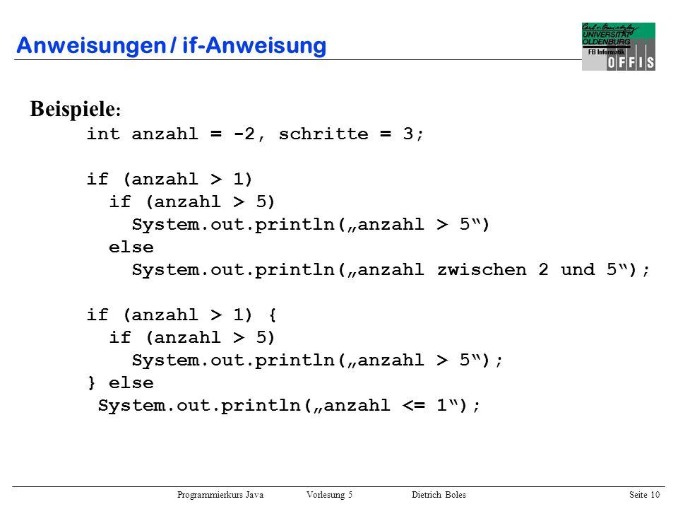 Programmierkurs Java Vorlesung 5 Dietrich Boles Seite 11 Anweisungen / Leeranweisung ::= ; Beispiele : double speed = 2.3; scale = 0.6; if (speed >= 3.4) ; else speed *= scale;; if (scale <= 1.0) { scale = 1.0 / scale; }; else // <- Syntaxfehler scale = scale / 1.1; Semantik: –keine Auswirkungen auf den Programmablauf