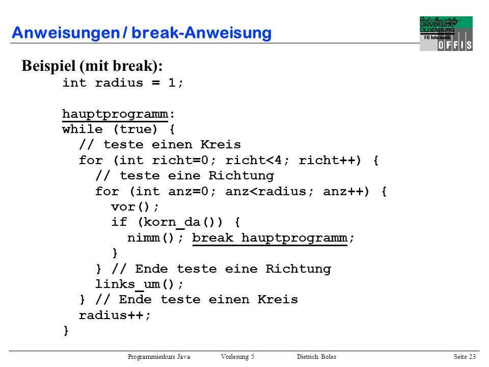 Programmierkurs Java Vorlesung 5 Dietrich Boles Seite 24 Anweisungen / switch-Anweisung ::= switch ( ) { { } } ::= | case : | default : Sinn und Zweck: –größere Fallunterscheidung –effizienter als geschachtelte if-Anweisung Bedingungen: –const-Ausdrücke vom Typ char, byte, short oder int (Literal) –alle const-Ausdrücke vom selben Typ –keine doppelte const-Ausdrücke –Typ von Ausdruck konform zum Typ der const-Ausdrücke –höchstens ein default