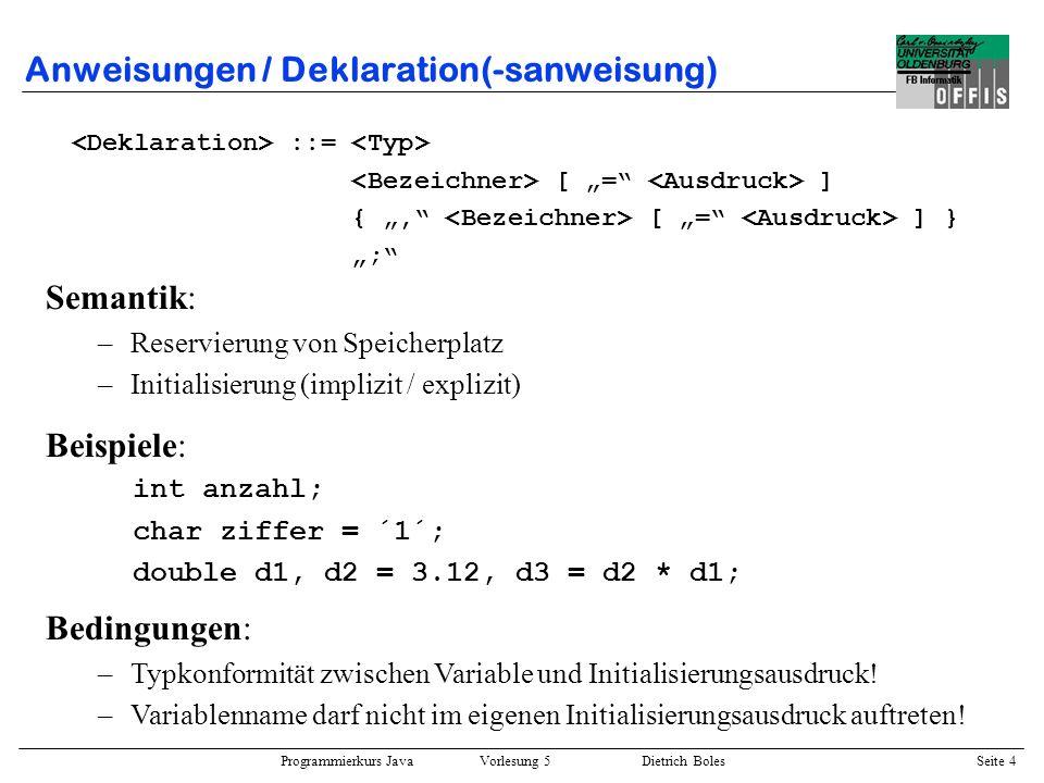 Programmierkurs Java Vorlesung 5 Dietrich Boles Seite 5 Anweisungen / Zuweisung(-sanweisung) ::= = ::= ; Beispiele: int anzahl = 2, schritte = 4; anzahl = 2 * anzahl + schritte / 3; if ((anzahl = anzahl++) == (anzahl = anzahl--)) anzahl = schritte = 4 * anzahl; Bedingungen: –Bezeichner ist der Name einer gültigen Variablen.