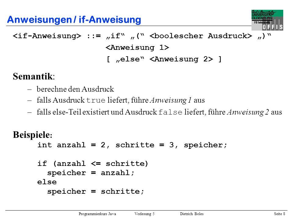 Programmierkurs Java Vorlesung 5 Dietrich Boles Seite 9 Anweisungen / if-Anweisung Beispiele : int anzahl = -2, schritte = 3; if (anzahl >= schritte) anzahl = schritte; schritte = 2 * schritte; if (anzahl >= schritte) { anzahl = schritte; schritte = 2 * schritte; } if (anzahl < schritte) System.out.println(anzahl ist kleiner); else if (anzahl > schritte) System.out.println(anzahl ist groesser); else System.out.println(gleich);