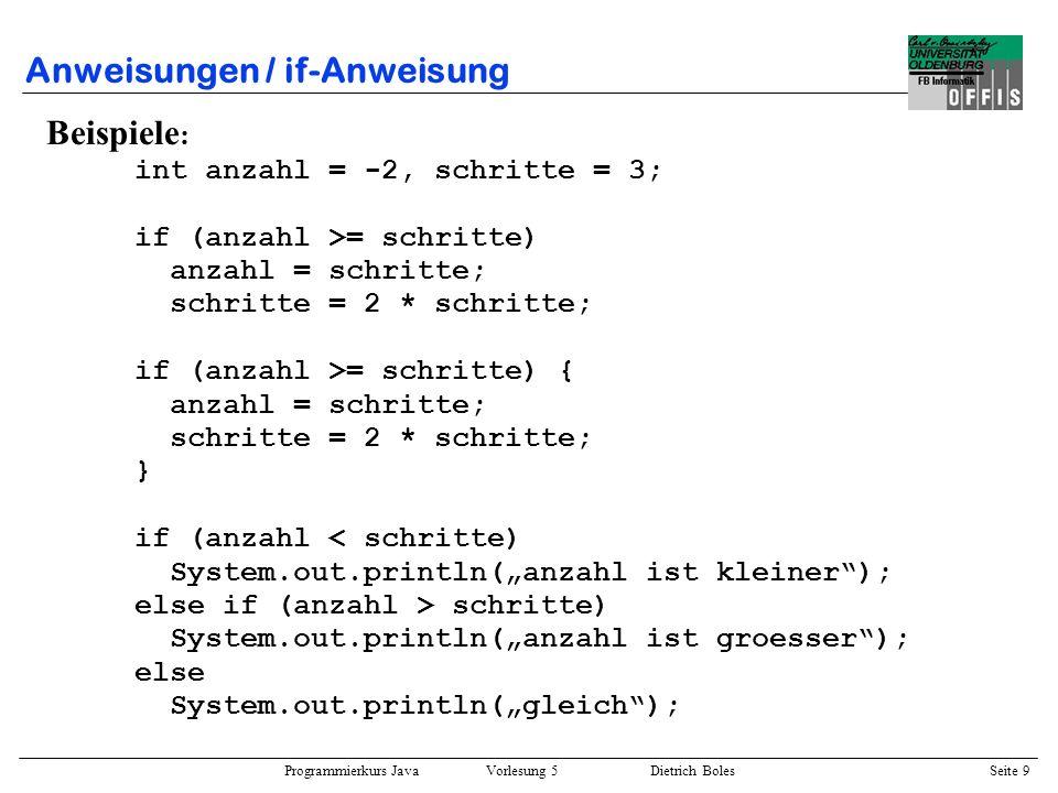 Programmierkurs Java Vorlesung 5 Dietrich Boles Seite 10 Anweisungen / if-Anweisung Beispiele : int anzahl = -2, schritte = 3; if (anzahl > 1) if (anzahl > 5) System.out.println(anzahl > 5) else System.out.println(anzahl zwischen 2 und 5); if (anzahl > 1) { if (anzahl > 5) System.out.println(anzahl > 5); } else System.out.println(anzahl <= 1);