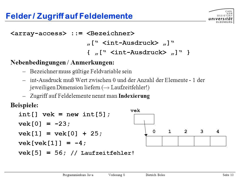 Programmierkurs Java Vorlesung 8 Dietrich Boles Seite 11 Felder / Initialisierung der Feldelemente Explizite Initialisierung: int[] vektor = new int[5]; for (int i=0; i<vektor.length; i++) vektor[i] = i*i; length: –liefert Anzahl an Elementen (der angegebenen Dimension) –nur lesbar.
