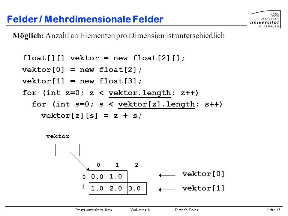 Programmierkurs Java Vorlesung 8 Dietrich Boles Seite 16 Felder / Mehrdimensionale Felder Implizite Erzeugung und Initialisierung: char[][] zeichen = { {a, b, c}, {A, B}, {0, 1, 2, 3, 4} }; 01234 zeichen a b c A B 0 1 2 3 4 0 1 2