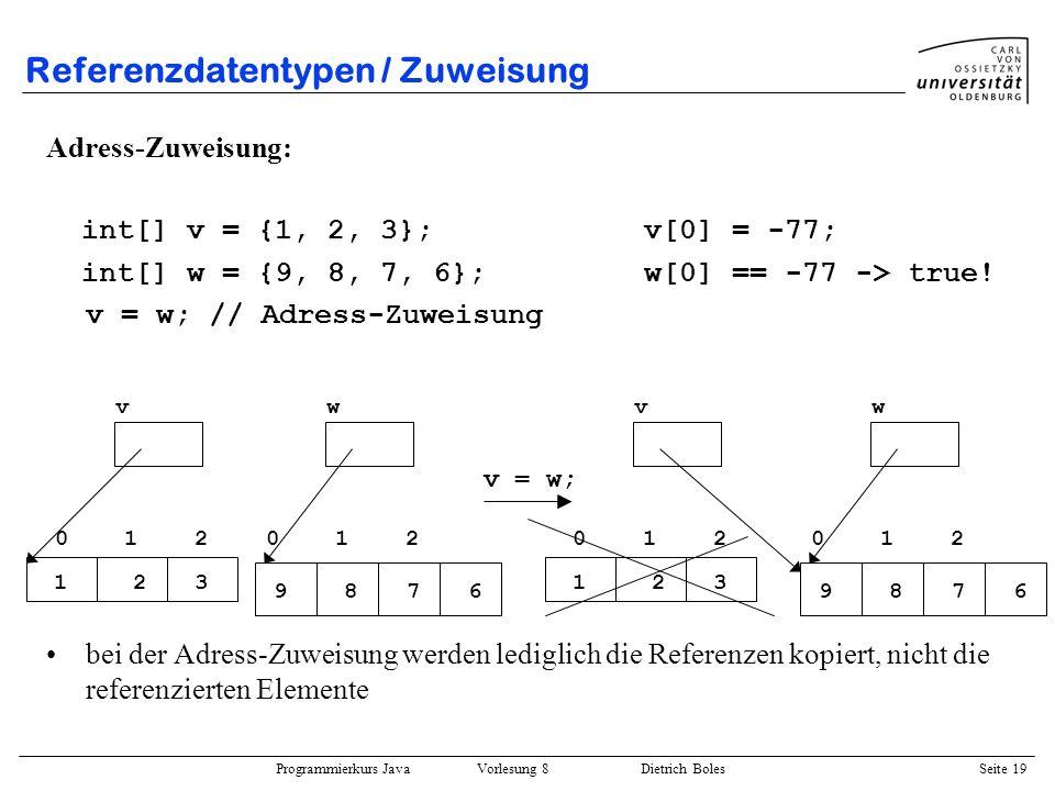 Programmierkurs Java Vorlesung 8 Dietrich Boles Seite 20 Referenzdatentypen / Zuweisung Element-Zuweisung (Wert-Zuweisung): int[] v = {1, 2, 3}; v[0] = -77; int[] w = {9, 8, 7, 6}; w[0] == 9 -> true for (int i=0; i<v.length, i++) v[i] = w[i]; // Element-Zuweisung bei der Element-Zuweisung werden die Werte der referenzierten Elemente kopiert.