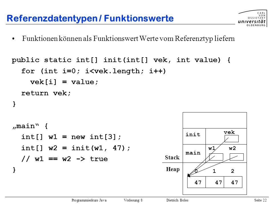 Programmierkurs Java Vorlesung 8 Dietrich Boles Seite 23 Referenzdatentypen / lokale Variablen bzgl.