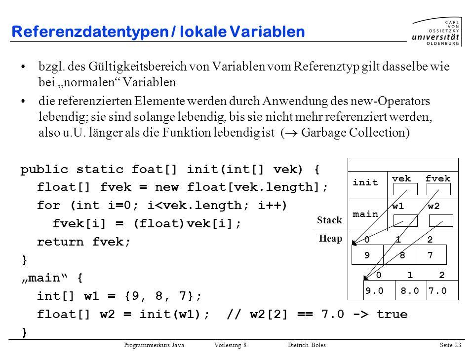 Programmierkurs Java Vorlesung 8 Dietrich Boles Seite 24 Referenzdatentypen / Beispiel Sortierung von Zahlen : public static void main(String[] args) { int[] feld = {2,5,3,7,1}; print(feld); bubbleSort(feld); print(feld); } public static void print(int[] vektor) { Terminal.out.print(Vektor: ); for (int i=0; i<vektor.length; i++) Terminal.out.print(vektor[i] + ); Terminal.out.println(); } 0 2 1 5 2 3 3 7 4 1 0 1 1 2 2 3 3 5 4 7