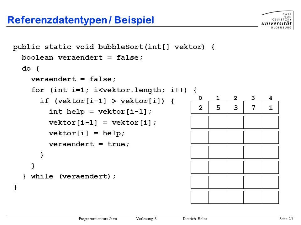 Programmierkurs Java Vorlesung 8 Dietrich Boles Seite 26 Verbunde / Motivation Definition: Datenstruktur/-typ zur Zusammenfassung von mehreren u.U.