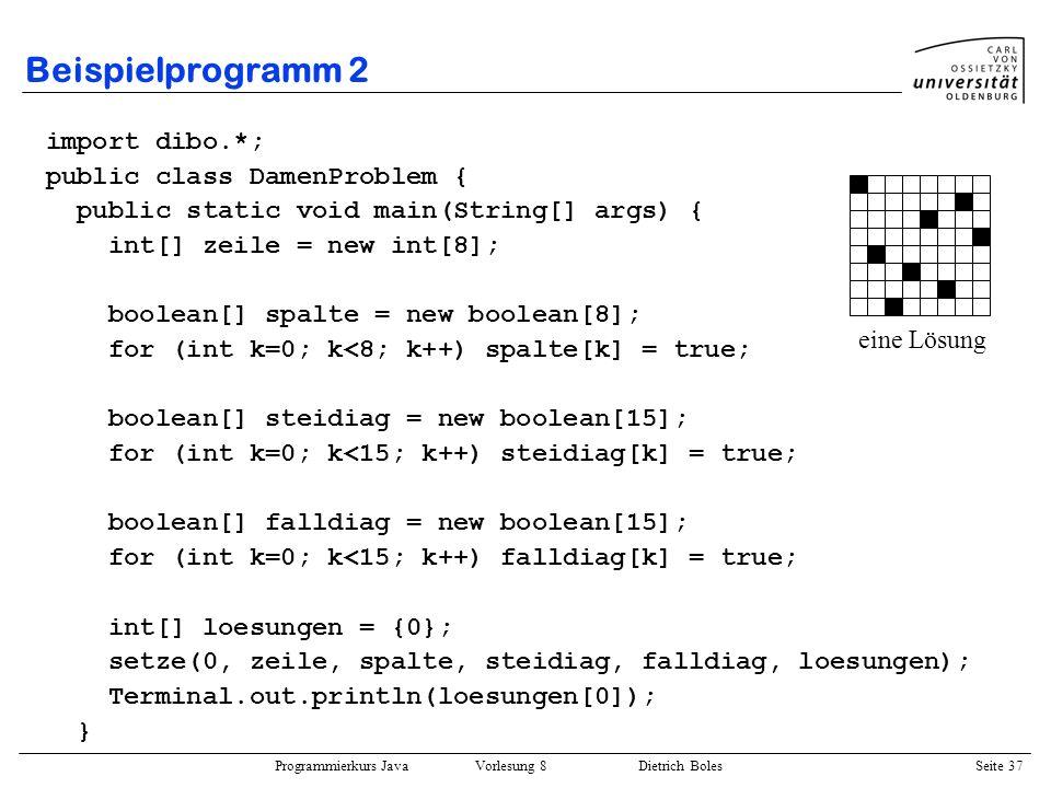 Programmierkurs Java Vorlesung 8 Dietrich Boles Seite 38 Beispielprogramm 2 public static void setze(int i, int[] zeile, boolean[] spalte, boolean[] steidiag, boolean[] falldiag, int[] loe) { for (int j=0; j<8; j++) { if (spalte[j] && falldiag[i+j] && steidiag[i-j+7]) { zeile[i] = j; spalte[j] = false; falldiag[i+j] = false; steidiag[i-j+7] = false; if (i < 7) { setze(i+1, zeile, spalte, steidiag, falldiag, loe); } else { print(zeile); loe[0]++; } spalte[j] = true; falldiag[i+j] = true; steidiag[i-j+7] = true; } } }