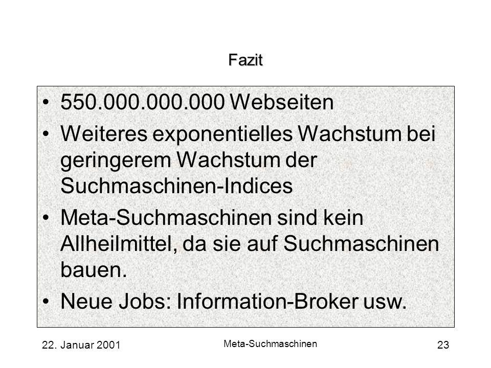 22. Januar 2001 Meta-Suchmaschinen 23 Fazit 550.000.000.000 Webseiten Weiteres exponentielles Wachstum bei geringerem Wachstum der Suchmaschinen-Indic