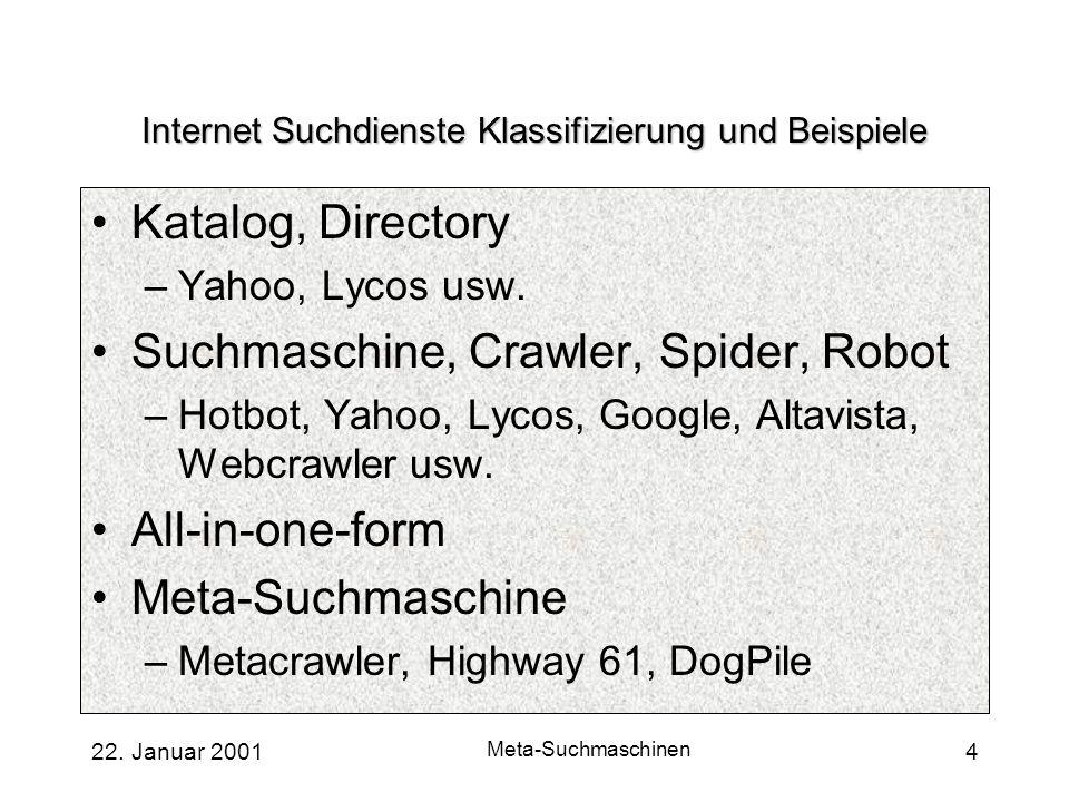22. Januar 2001 Meta-Suchmaschinen 4 Internet Suchdienste Klassifizierung und Beispiele Katalog, Directory –Yahoo, Lycos usw. Suchmaschine, Crawler, S