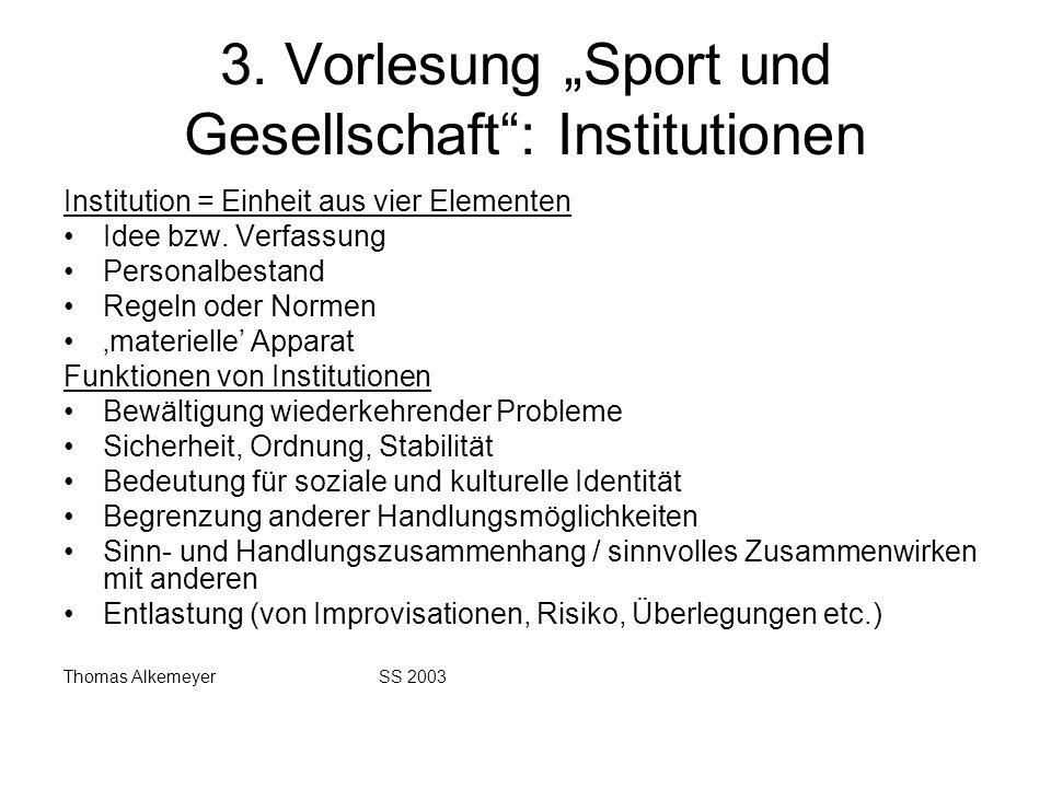 3. Vorlesung Sport und Gesellschaft: Institutionen Institution = Einheit aus vier Elementen Idee bzw. Verfassung Personalbestand Regeln oder Normen ma