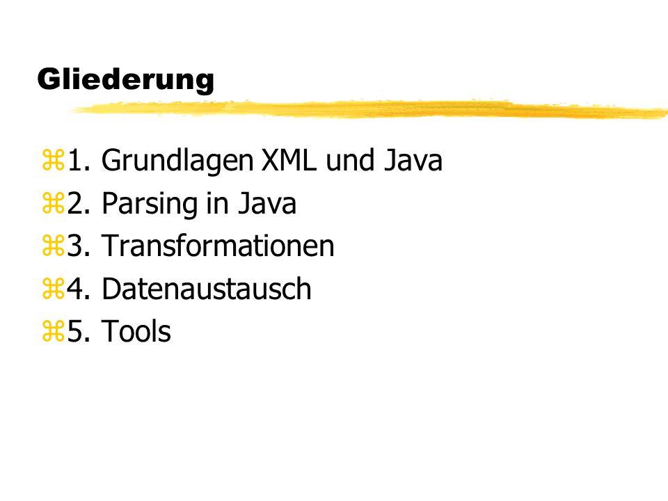 Gliederung z1. Grundlagen XML und Java z2. Parsing in Java z3. Transformationen z4. Datenaustausch z5. Tools