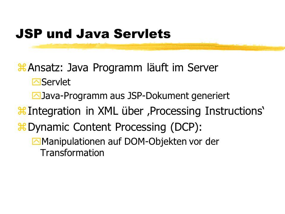 JSP und Java Servlets zAnsatz: Java Programm läuft im Server yServlet yJava-Programm aus JSP-Dokument generiert zIntegration in XML über Processing In