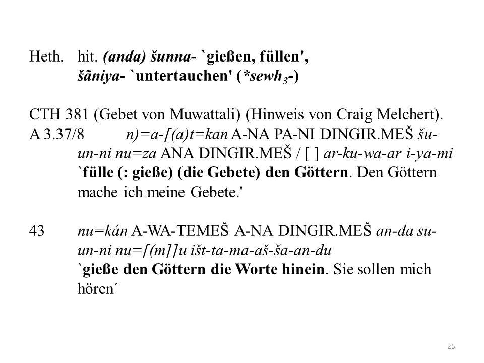 Heth.hit. (anda) šunna- `gießen, füllen', šãniya- `untertauchen' (*sewh 3 -) CTH 381 (Gebet von Muwattali) (Hinweis von Craig Melchert). A 3.37/8 n)=a