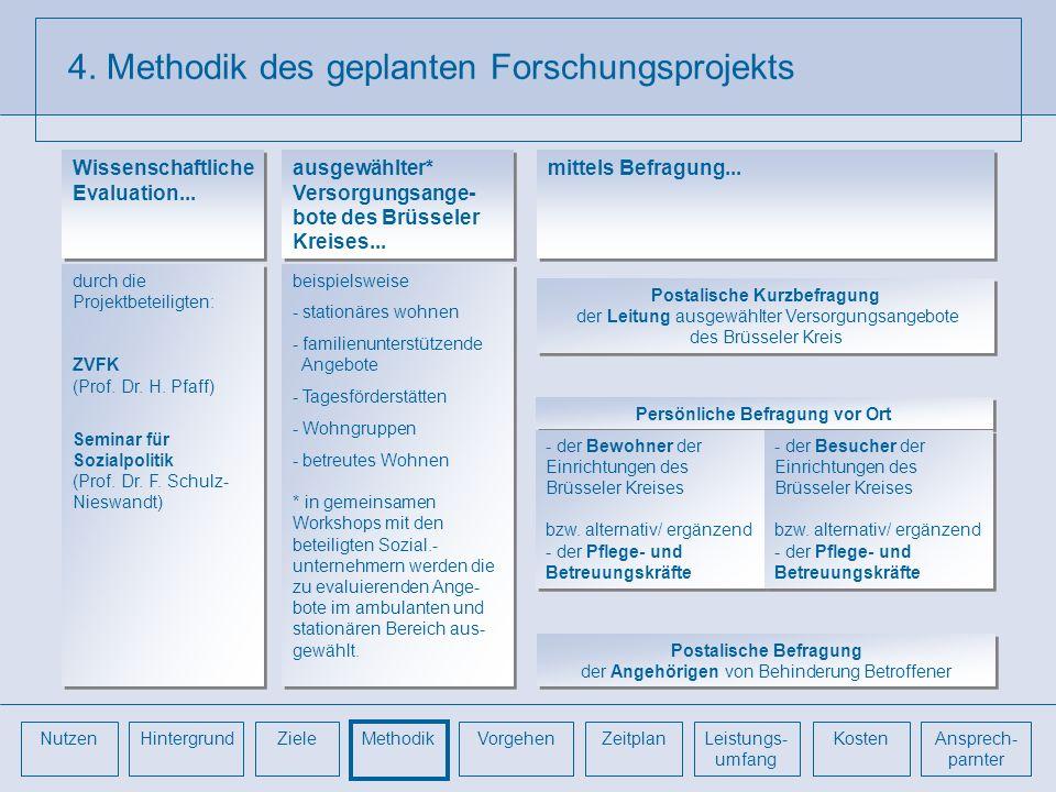 4. Methodik des geplanten Forschungsprojekts durch die Projektbeteiligten: ZVFK (Prof. Dr. H. Pfaff) Seminar für Sozialpolitik (Prof. Dr. F. Schulz- N