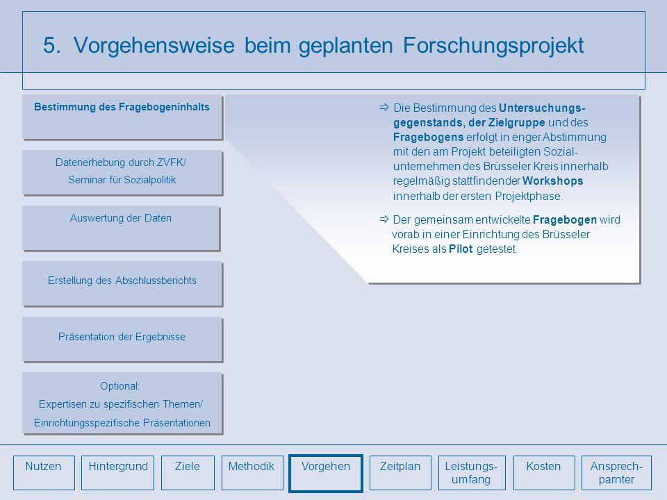 5. Vorgehensweise beim geplanten Forschungsprojekt Die Bestimmung des Untersuchungs- gegenstands, der Zielgruppe und des Fragebogens erfolgt in enger