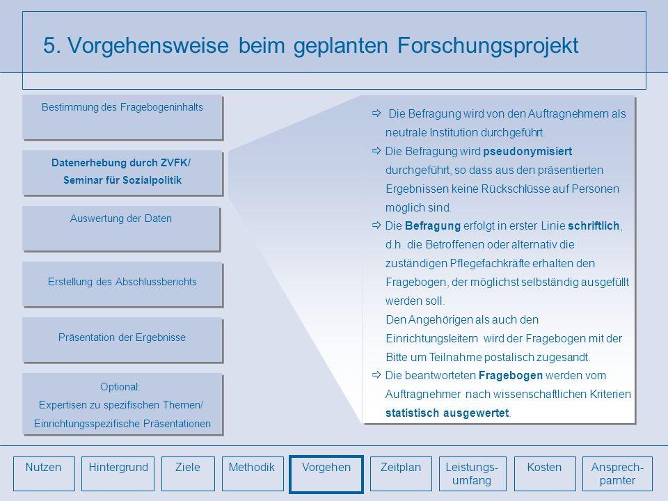 5. Vorgehensweise beim geplanten Forschungsprojekt Die Befragung wird von den Auftragnehmern als neutrale Institution durchgeführt. Die Befragung wird