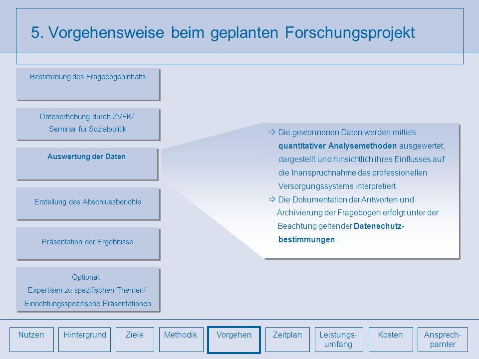 5. Vorgehensweise beim geplanten Forschungsprojekt Die gewonnenen Daten werden mittels quantitativer Analysemethoden ausgewertet, dargestellt und hins
