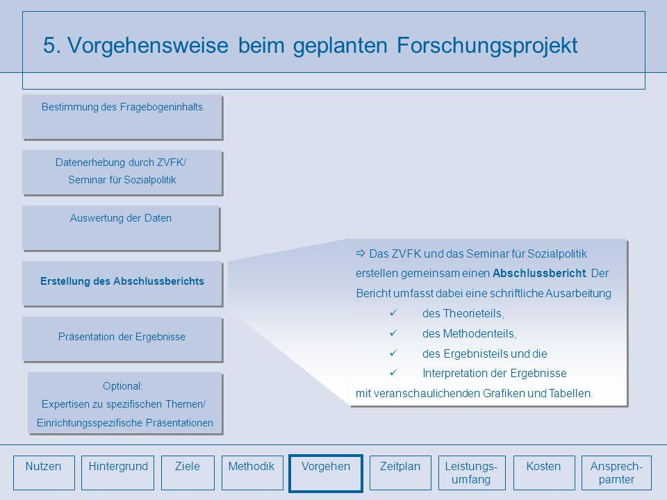 5. Vorgehensweise beim geplanten Forschungsprojekt Das ZVFK und das Seminar für Sozialpolitik erstellen gemeinsam einen Abschlussbericht. Der Bericht