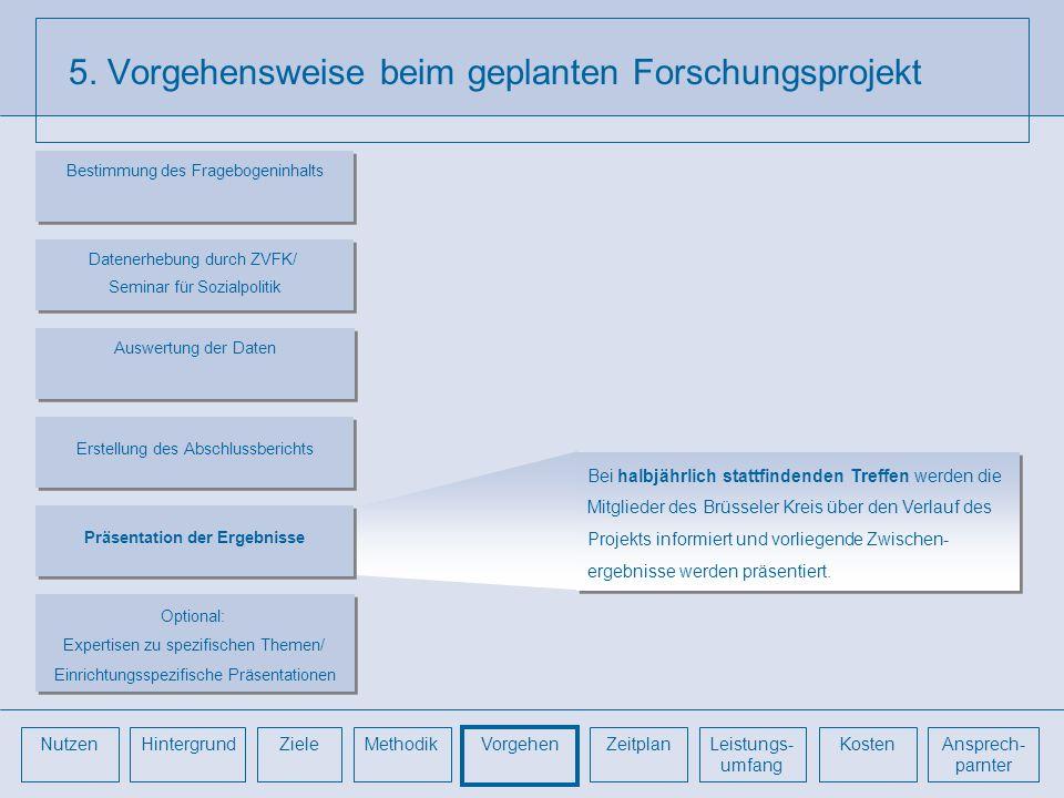 5. Vorgehensweise beim geplanten Forschungsprojekt Bei halbjährlich stattfindenden Treffen werden die Mitglieder des Brüsseler Kreis über den Verlauf
