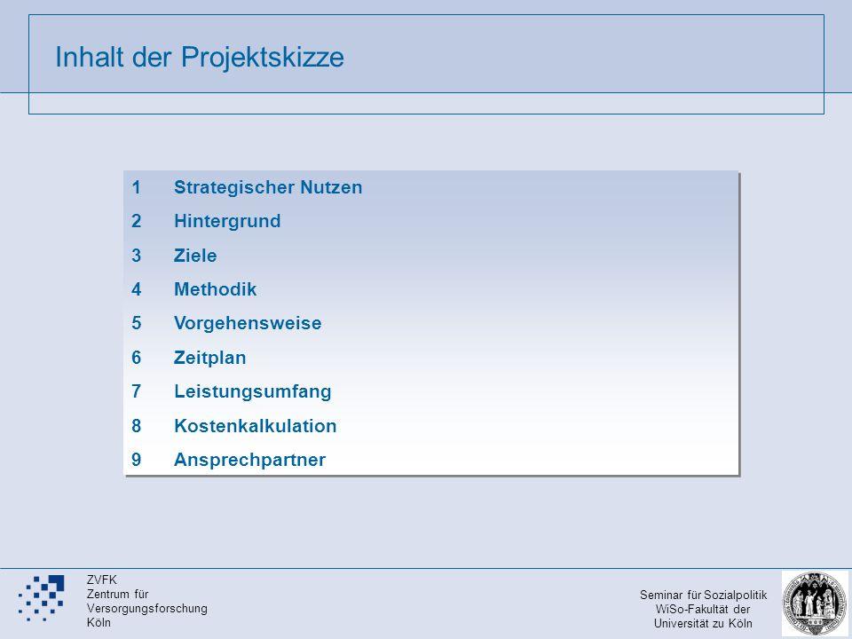 Inhalt der Projektskizze 1Strategischer Nutzen 2Hintergrund 3 Ziele 4Methodik 5 Vorgehensweise 6Zeitplan 7Leistungsumfang 8Kostenkalkulation 9Ansprech