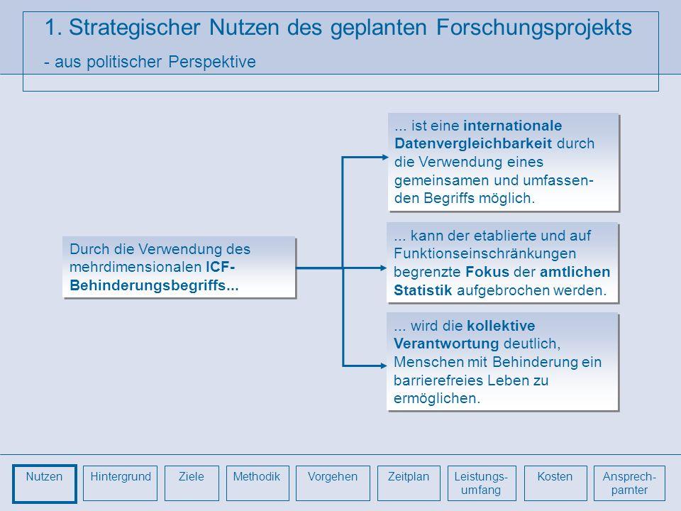 1. Strategischer Nutzen des geplanten Forschungsprojekts - aus politischer Perspektive Durch die Verwendung des mehrdimensionalen ICF- Behinderungsbeg
