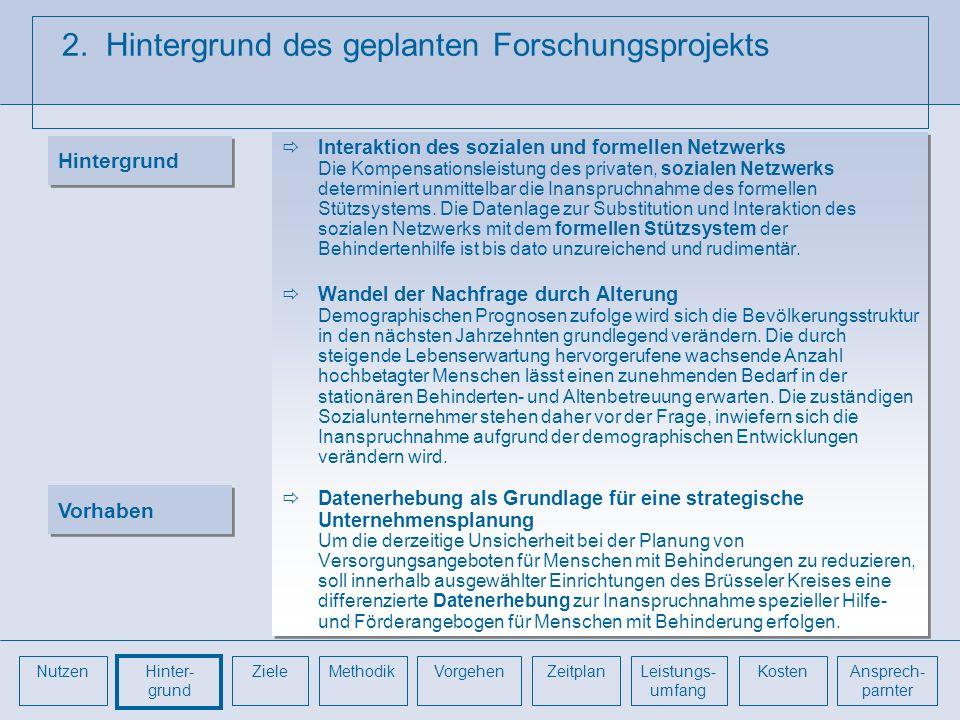 2. Hintergrund des geplanten Forschungsprojekts Interaktion des sozialen und formellen Netzwerks Die Kompensationsleistung des privaten, sozialen Netz