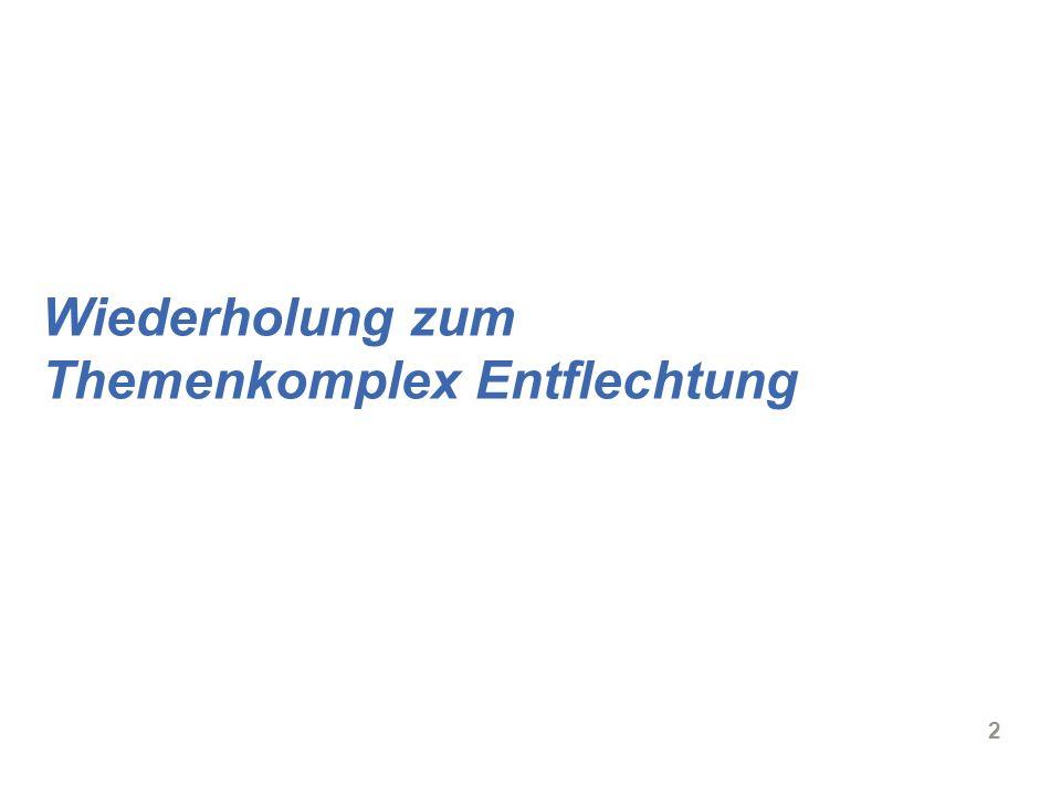 3 Vorlesung Energierecht – Entflechtung Entscheidend für Wettbewerb: Nicht-diskriminierender Netzzugang Wettbewerb Erzeugung Börse Handel OTC Transport VerteilungKunden Entflechtung des Netzes von Erzeugung, Handel, Vertrieb Regulierung des Netzzugangs und der Netzentgelte (Regulierungsbehörde)