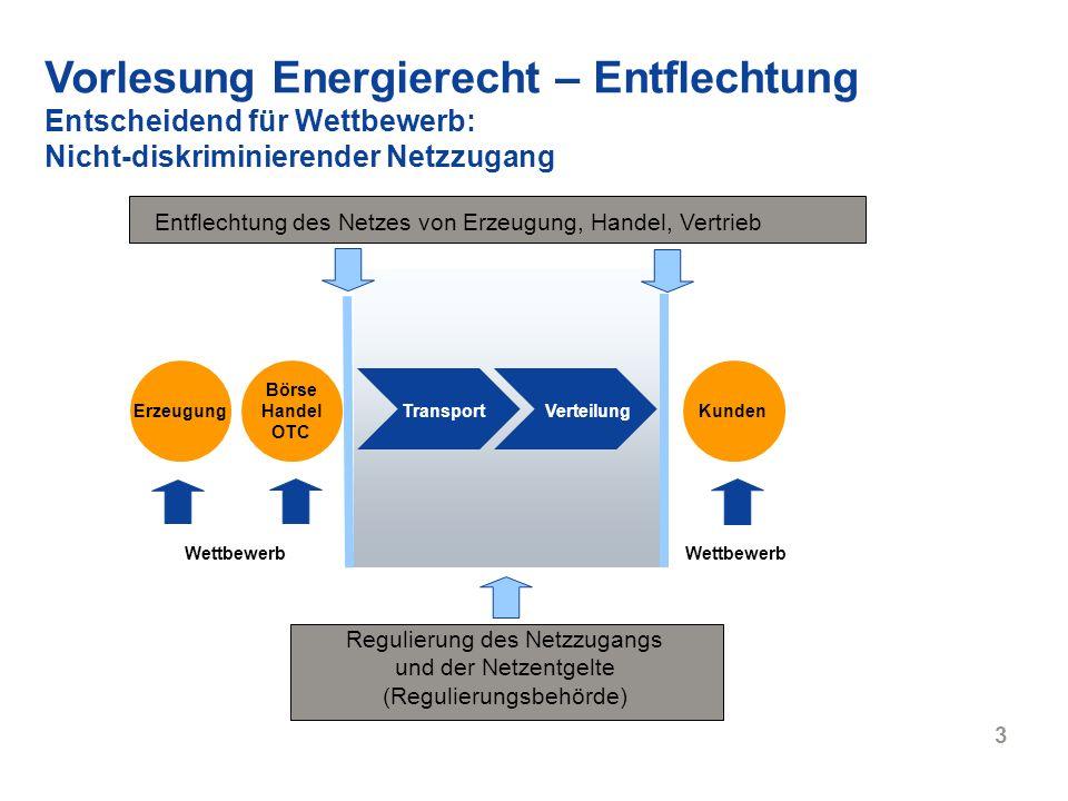 4 RWE Energy 27.04.2007 Vorlesung Energierecht – Entflechtung Arten der Entflechtung Rechnerisch (§ 10 EnWG) Rechtlich (§ 7 EnWG) Verpflichtung zur getrennten Kontoführung; eigene Bilanz und GuV Informationell (§ 9 EnWG) Operationell (§ 8 Abs.