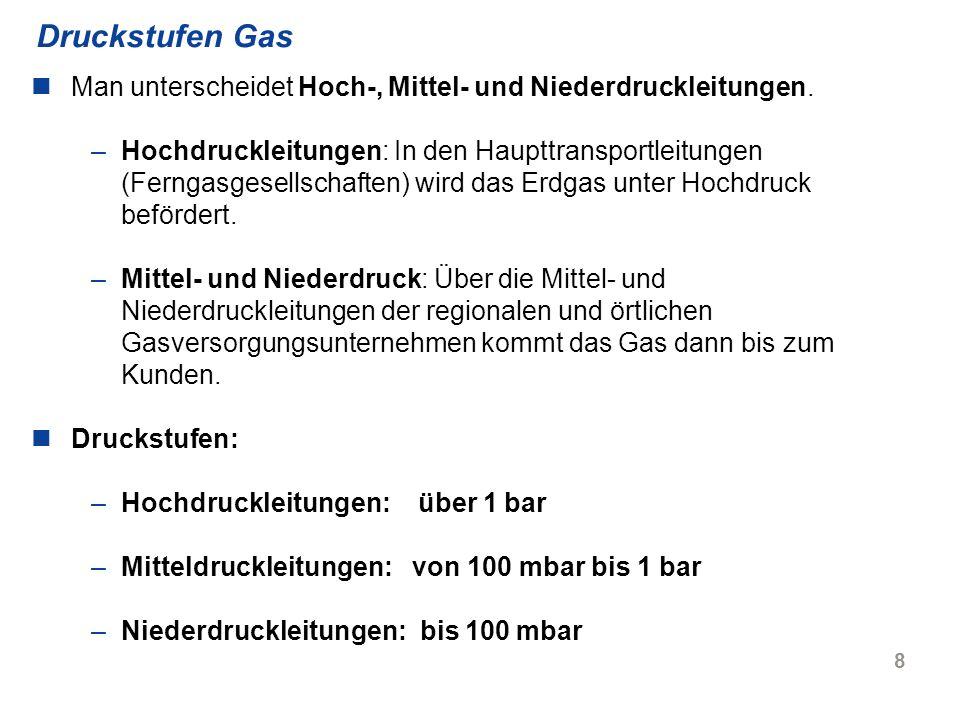 9 Unterschiedliche Gasqualitäten