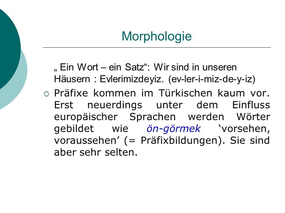 Morphologie Ein Wort – ein Satz: Wir sind in unseren Häusern : Evlerimizdeyiz. (ev-ler-i-miz-de-y-iz) Präfixe kommen im Türkischen kaum vor. Erst neue