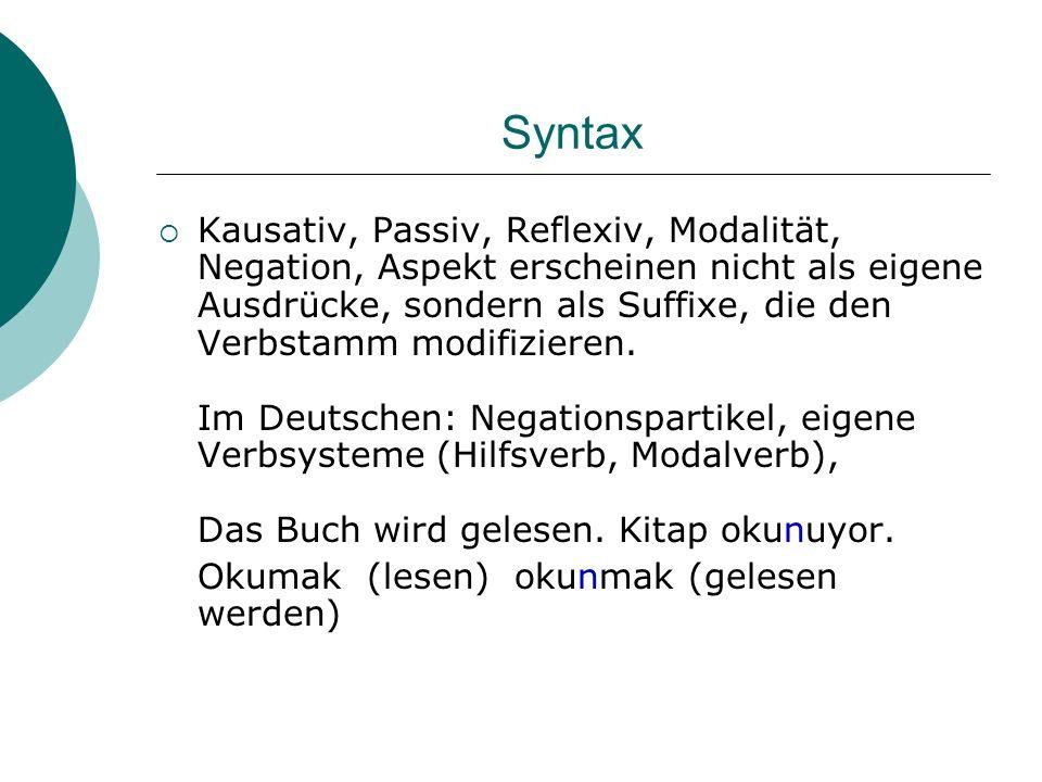 Syntax Kausativ, Passiv, Reflexiv, Modalität, Negation, Aspekt erscheinen nicht als eigene Ausdrücke, sondern als Suffixe, die den Verbstamm modifizie
