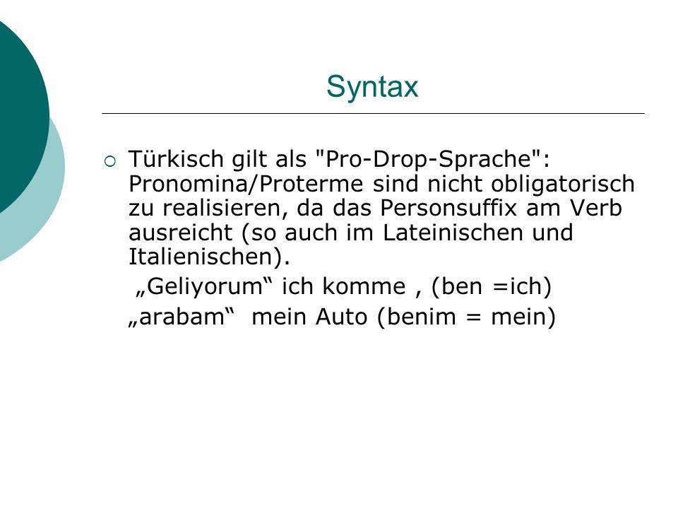 Syntax Türkisch gilt als