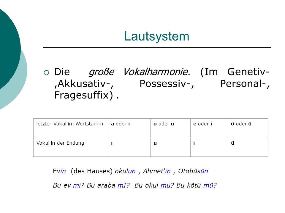 Morphologie Türkisch hat - anders als Deutsch - ein reichhaltiges verbales Aspektsystem.