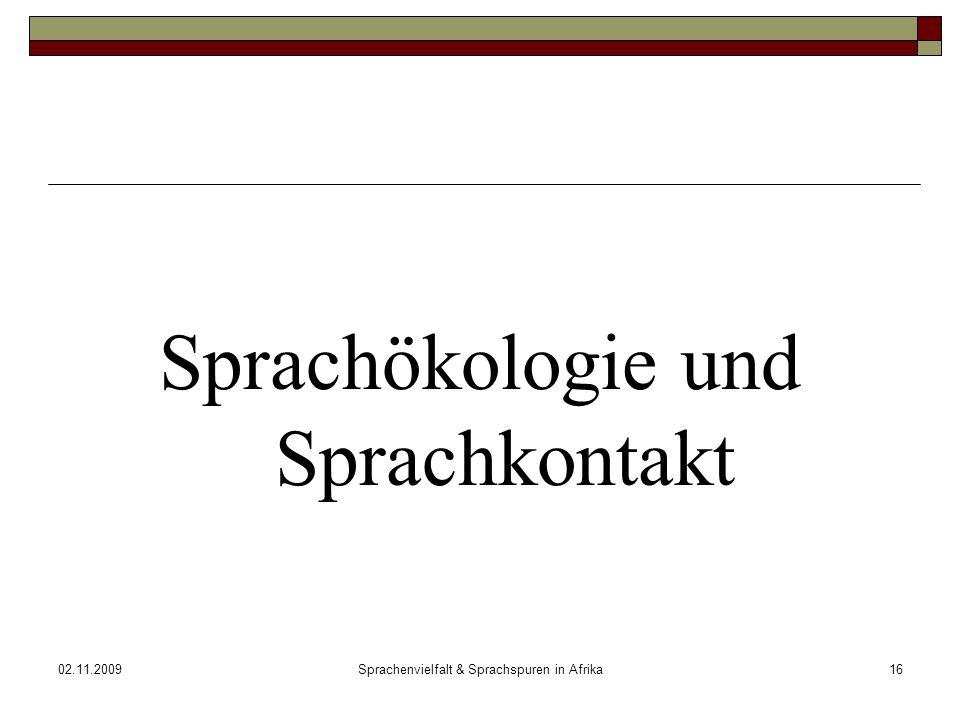 02.11.2009Sprachenvielfalt & Sprachspuren in Afrika16 Sprachökologie und Sprachkontakt