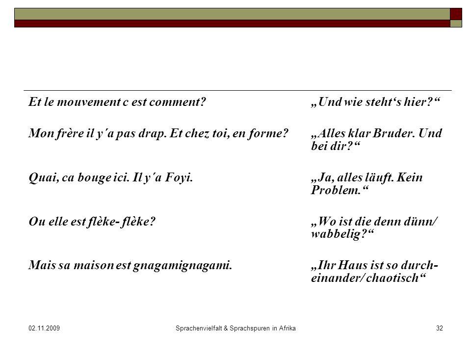 02.11.2009Sprachenvielfalt & Sprachspuren in Afrika32 Et le mouvement c est comment?Und wie stehts hier.