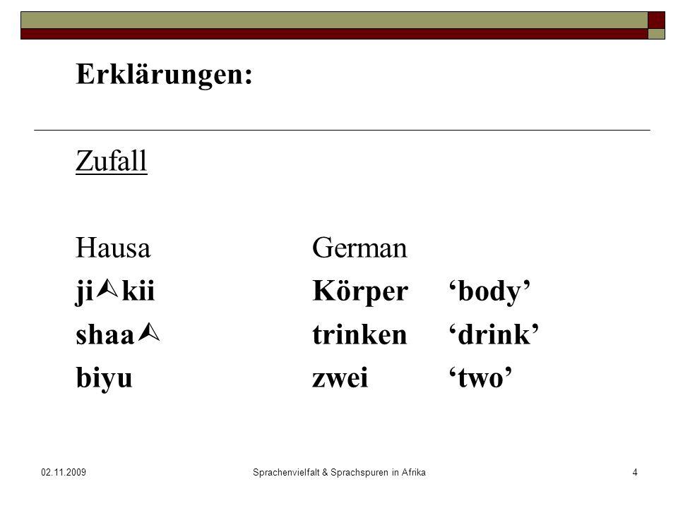 02.11.2009Sprachenvielfalt & Sprachspuren in Afrika4 Erklärungen: Zufall HausaGerman ji kiiKörper body shaa trinkendrink biyuzweitwo