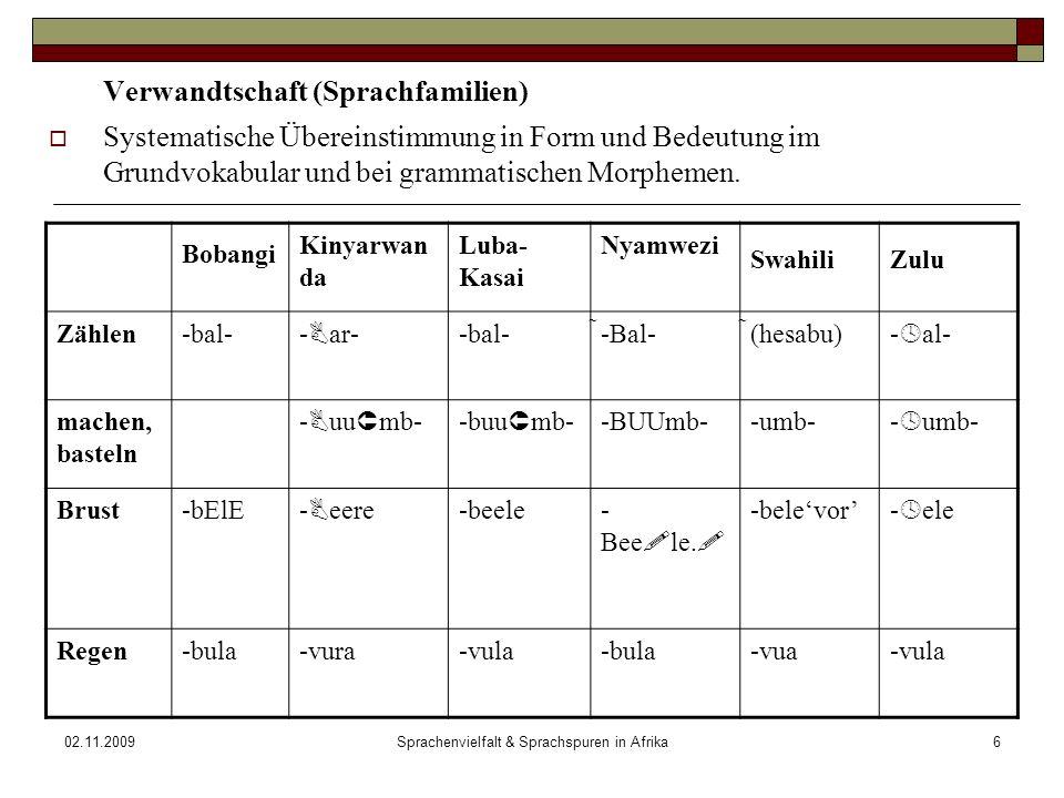 02.11.2009Sprachenvielfalt & Sprachspuren in Afrika6 Verwandtschaft (Sprachfamilien) Systematische Übereinstimmung in Form und Bedeutung im Grundvokabular und bei grammatischen Morphemen.